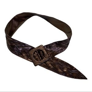 Wide Leather Metálic Bronze Belt square brown